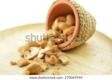 Roasted cashew nuts. Cashew nuts baked salt, Eating for health - stock photo