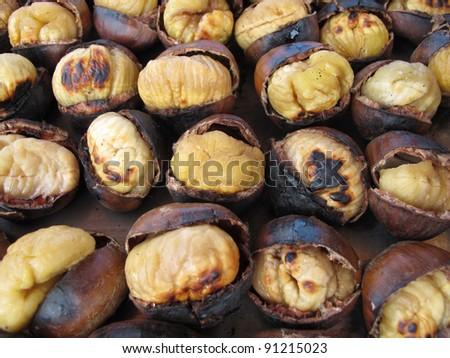 Roasted Chestnut - stock photo