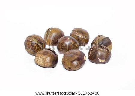 Roasted chestnut on white background. Snacks from China