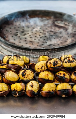 Roasted chestnuts for sale in the street of Istanbul. Turkey - stock photo