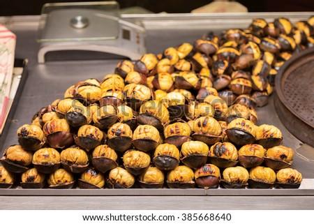 Roasted Chestnuts in Taksim, Istanbul, Turkey - stock photo