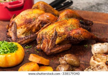 roasted chicken - stock photo