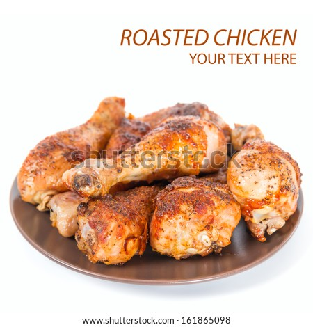 Roasted chicken background - stock photo