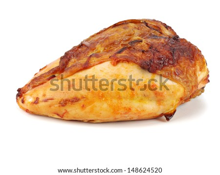 Roasted chicken breast on a white background - stock photo