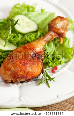 Roasted chicken leg