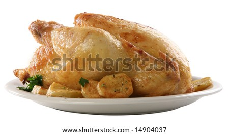 Roasted chicken on isolated white background, with potatoes