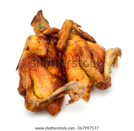 roasted chicken on white background