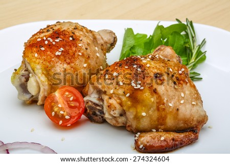 Roasted chicken thighs with herbs and spices