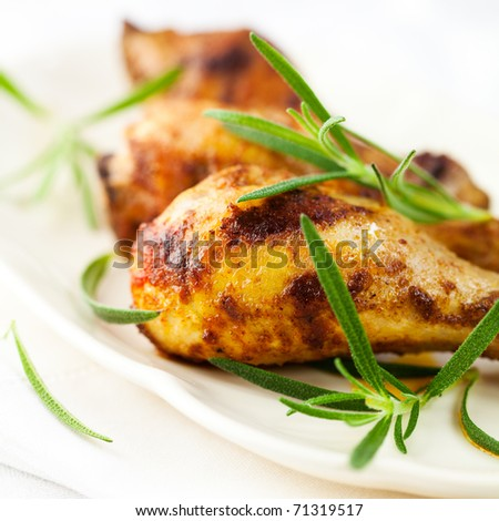 Roasted chicken with fresh rosemary