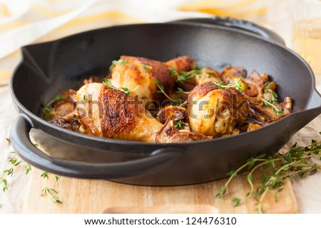 roasted chicken with mushrooms,onions and garlic - stock photo