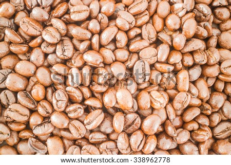 Roasted coffee bean and business card, stock photo