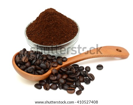 roasted coffee beans and powder isolated in white background - stock photo