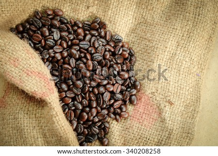 Roasted Coffee Beans and Sack with Copy space, Selective Focus