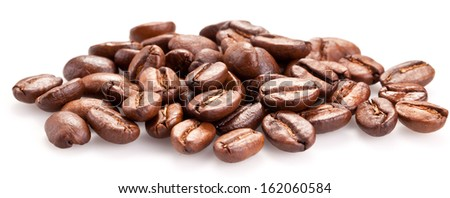 Roasted coffee beans and solated on a white background. - stock photo