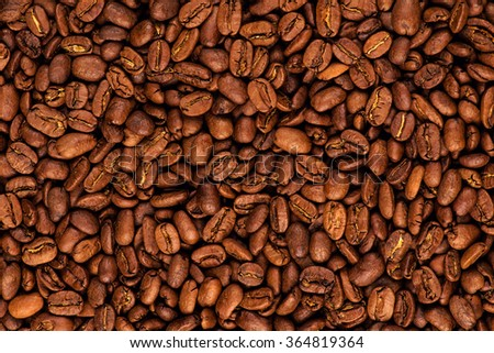 roasted coffee beans background - stock photo