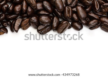 Roasted Coffee Beans background texture. Arabic roasting coffee - ingredient of hot beverage. Brown coffee beans for background and texture. - stock photo
