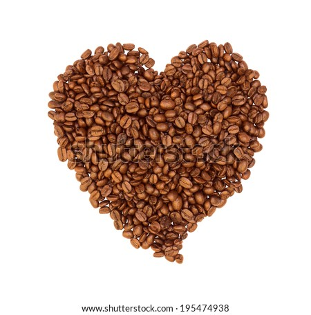 Roasted Coffee Beans background texture isolated on white background , Shape of heart by roasted coffee beans