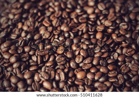 roasted coffee beans background texture, vintage filtered style