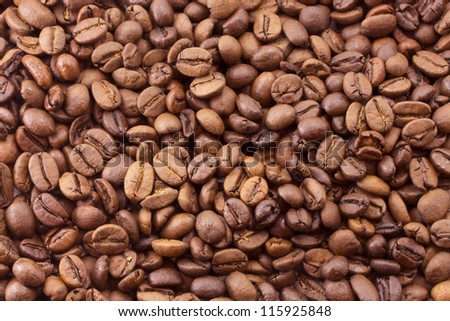 roasted coffee beans, cheerful morning breakfast - stock photo