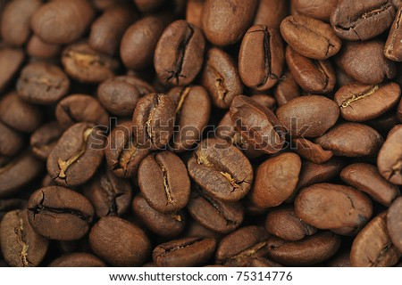 roasted coffee beans  close up, background