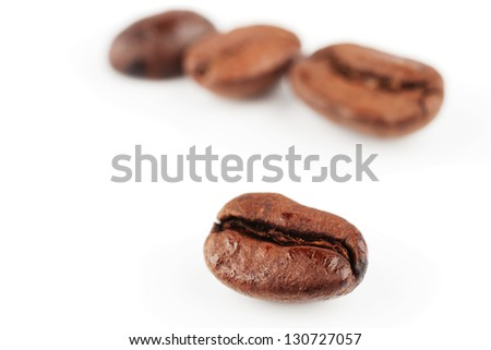 Roasted coffee beans, close-up of coffee beans