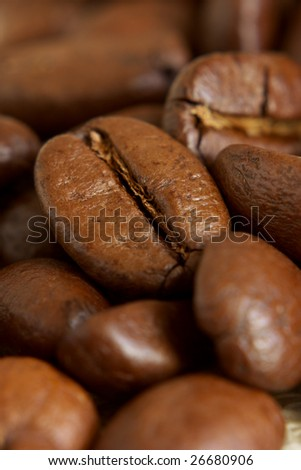 Roasted coffee beans close-up. Selective focus.