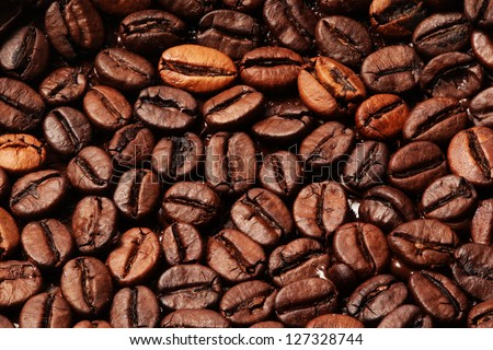 Roasted Coffee beans closeup background - stock photo
