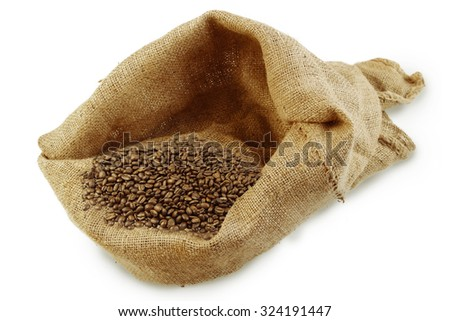 Roasted coffee beans in sack on plain background
