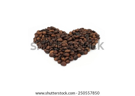 Roasted coffee beans in shape of heart