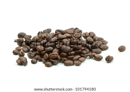 Roasted coffee beans isolated on white background - stock photo