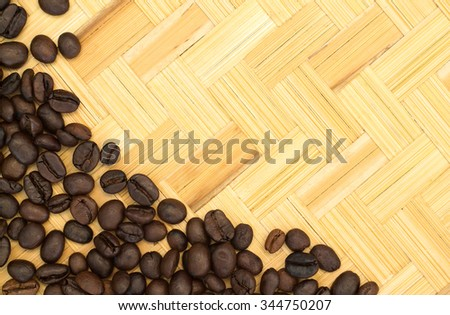 Roasted coffee beans on a bamboo background.