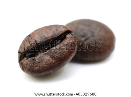 roasted coffee beans on a white background - stock photo