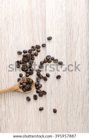Roasted coffee beans on the table. From above