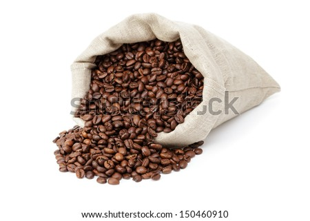 roasted coffee beans spill out of the bag, isolated on white - stock photo