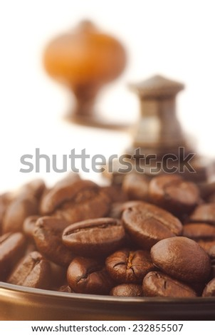 roasted coffee in a coffee grinder