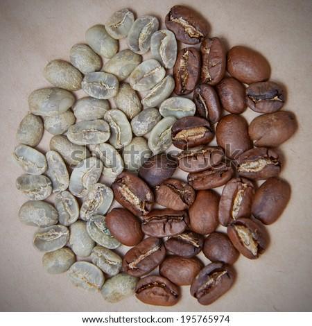 roasted coffee in circle - stock photo