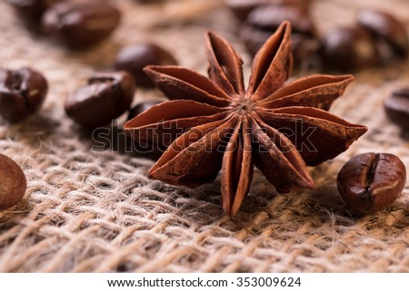Roasted coffee star-anise closeup textured wallpaper - stock photo