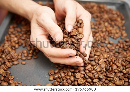 roasted coffee with arm - stock photo