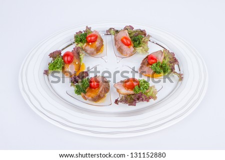 Roasted duck breast fillet with miso-orange sauce - stock photo