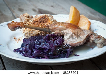 Roasted duck leg with side dish on a plate