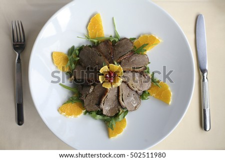 Roasted duck meal in a restaurant