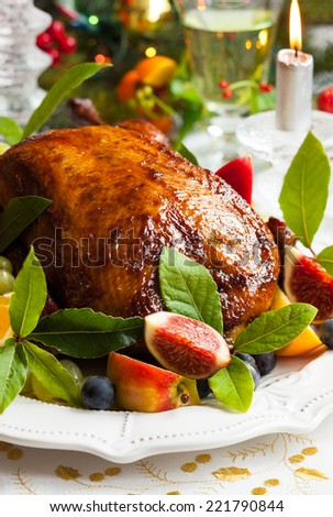 Roasted Duck with fruits for Christmas - stock photo