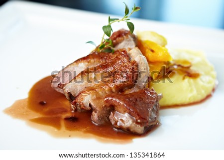Roasted duck with mashed potatoes, caramelized fennel and orange salad and white wine sauce - stock photo