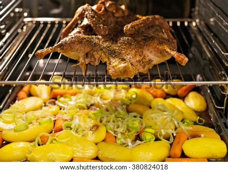 Roasted duck with potatoes in the oven. - stock photo