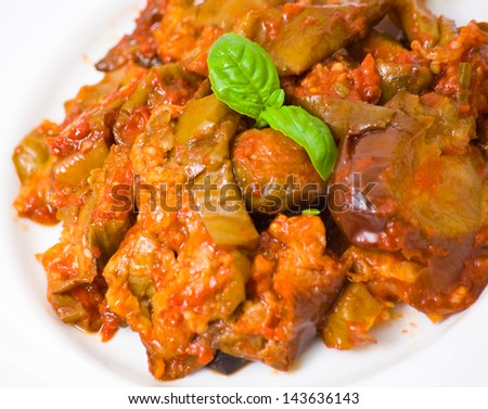 roasted eggplant with tomatoes and celery
