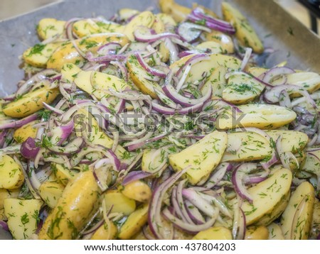 Roasted fingeling potato salad with dill, olive oil nad red onions