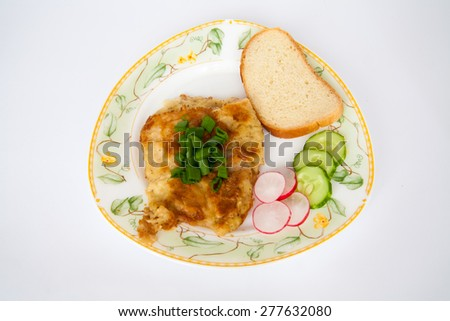 Roasted fish on the white plate. Barbecue. Restaurant - stock photo