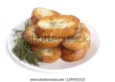 roasted garlic bread with herbs - stock photo
