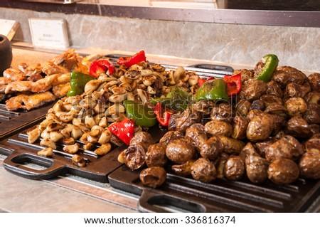 Roasted garlic ,potato ,chicken - stock photo
