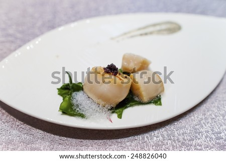 roasted giant scallop - stock photo